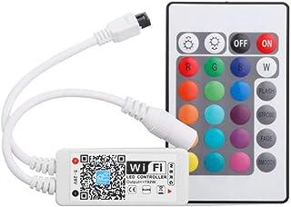 Uonlytech 24 toetsen WiFi Wireless Smart LED Controller met IR-infrarood afstandsbediening werken met Android IOS-systeem ...