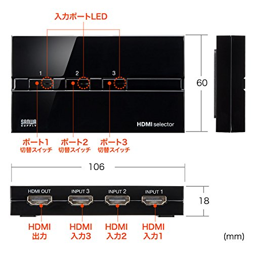 『サンワダイレクト HDMI切替器 3入力1出力 手動切替 自動切り替えなし 電源不要 フルHD・HDCP対応 400-SW018』の6枚目の画像