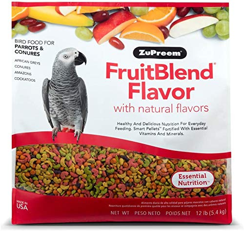 ZuPreem FruitBlend Flavor Pellets Bird Food for Parrots and Conures, 12 lb Bag | Powerful Pellets Made in The USA, Naturally Flavored for Conures, Caiques, African Greys, Senegals, Amazons, Eclectus,