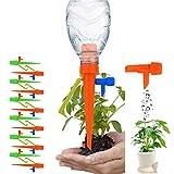 【2020進化版】改良タイプ 98%のボトルに適用 植物給水 自動給水キャップ CerKing 水やり当番 水分量調節 留守/出張/旅行/野菜/果実 給水システム じょうろ スタンド付き 12個セット