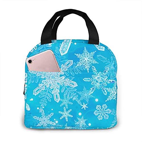 Bolsa de almuerzo Navidad 3d Hielo Copo de nieve Bolsa de asas Fiambrera con aislamiento Resistente al agua Bolsa más fresca para hombres Mujeres Picnic Canotaje Pesca en la playa