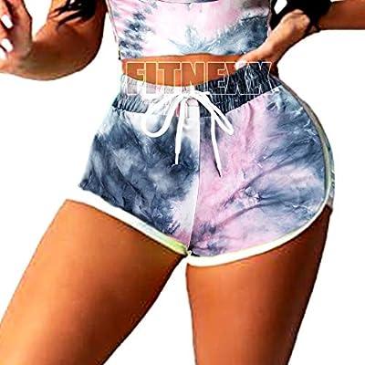 FITNEXX Women's Tie Dye Sports Drawstring Workout Shorts Active Shorts Striped Yoga Shorts Fitness Ultra Soft Hot Pants
