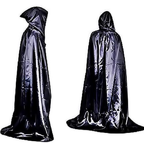 Eén maat - kostuummantel - carnaval - halloween - vampire - dracula - glanzend zwart - doorschijnend - capuchon - volwassenen - unisex - vrouw - man twilight