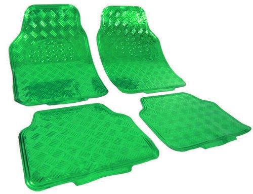 Carparts-Online 20181 Auto Gummi Fußmatten universal Alu Riffelblech Optik chrom grün