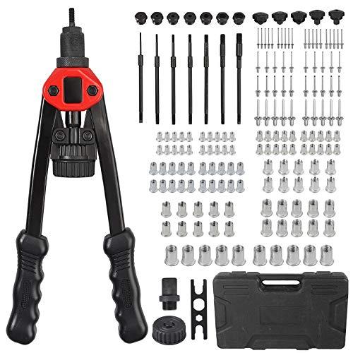 AUTOUTLET Pistola Remachadora 2 en 1, 13  Pistola de Remaches Profesional con 7 Mandriles M3-M12, 100PCS Tuercas, 5 Cabezas de Remache de 2,4-6,4 mm, 50PCS Remaches, Llave multifunción