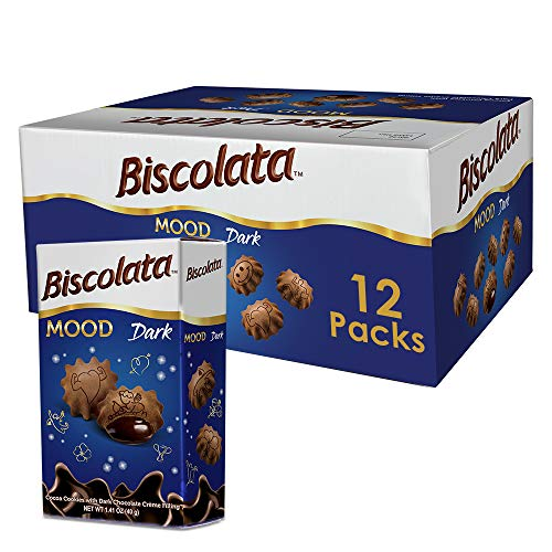 Biscolata Mood Cookies with Chocolate Filling Snacks - Crispy Cookie Shell Filled with Milk Chocolate (Dark, 12 Boxes)