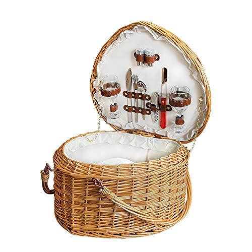 Shrandi Cesta de mimbre con forma de corazón para pícnic, grandes cestas de ratán hechas a mano con tapa y asa para accesorios de camping y accesorios de playa, cesta de picnic para 2