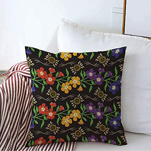 Farmhouse Funda de Almohada Decorativa Funda de Almohada Cuadrada Flor Colorida Estampado Floral imprimible Moda Abstracta Textura Verde Hermoso jardín Funda de cojín Indio para sofá Dormito