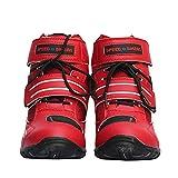 Botas de Carretera Profesionales para Moto, Zapatos de Motocicleta para Hombres y Mujeres, Zapatos de Protección para Montar Casuales,Red-40