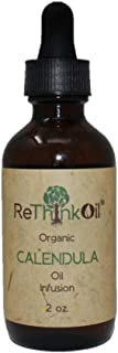 ReThinkOil - 2 oz Organic Calendula -Jojoba Oil Infusion (Glass Bottle with Dropper Top) Light Herbal Scent - Made from Real Calendula Flowers not Essential Oil