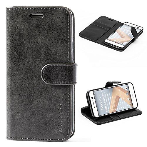 Mulbess Flip Tasche Handyhülle für HTC 10 Hülle Leder, HTC 10 Klapphülle, HTC 10 Handy Hülle, Schutzhülle für HTC 10 Handytasche, Schwarz