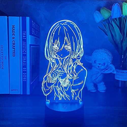Lámpara Anime Miku Nakano The Quintessential Quintuplets 3D LED luz nocturna cambia de color para dormitorio con mando a distancia