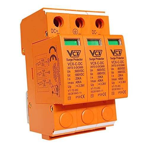 Überspannungsschutz 600V 3P 20-40kA C+DC T2 DC C3P 600 Überspannungsableiter Solarlange Blitzschutz für DC Photovoltaik VCX 6903