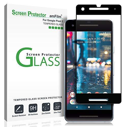 Google Pixel 2 Glas Bildschirmschutzfolie, amFilm Vollständige Abdeckung Panzerglas Schutzfolie für Google Pixel 2 (Schwarz)