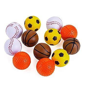 Chiwava 12 Pack 1.6 Pouces Mousse de Caoutchouc Souple Chat Jouet Balle éponge balles de Sport Chaton Jouet interactif Couleur Assortie