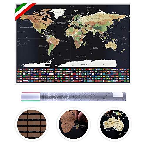 Poster con Planisfero da grattare Confini Mappa Deluxe con Accessori per Grattare Viaggiatori Sfondo con Bandiere Confezionato in Tubo Lingua Italiana 82 cm x 59 cm