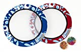 Sunlite Sports Bongo Discs- Ball Paddle Game with Disc Paddles- Ball Throwing Water Outdoor Games for Beach, Lawn, Backyard, Camping - Fun Beach Sports Toys- Set of 2 (Red & Blue)