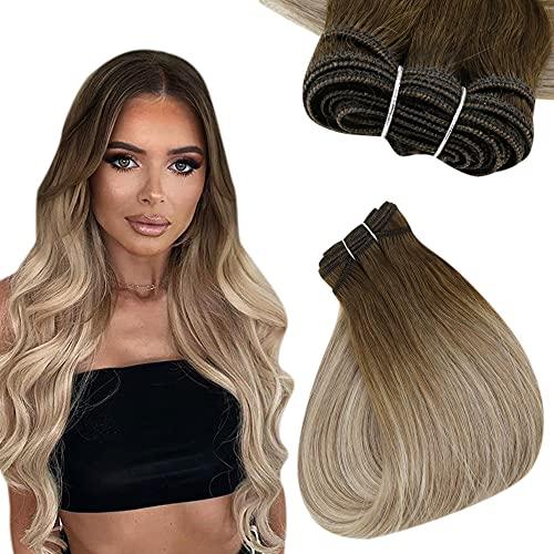 Easyouth Human Hair Bundles Haartressen Echthaar 16 Zoll Farbe Daker Brown Mix Aschbraun und Mittelblond 80g Remy Sew in Weft Tressen Echthaar