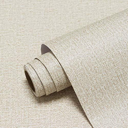 CiCiwind 40x300cm Papel Pintado Beige Estilo de Lino Papel Adhesivo Vinilo Impermeable Resistente deSgaste Recubre Muebles Antiguos para Decorar Muebles Paredes Habitaciones