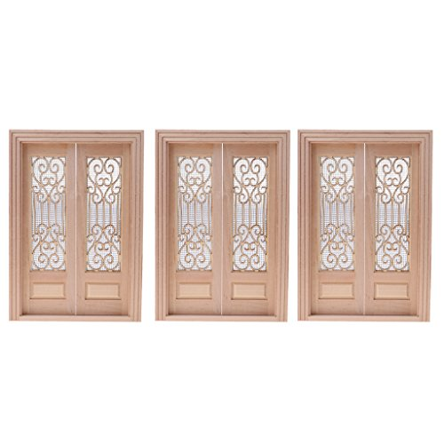 Fenteer 3 Sets 1:12 Puppenhaus Zimmer Möbel - Miniatur Holz Tür Insektengitter Türen Haustür - 19,5 x 13,5 x 1,5 cm
