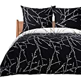 Bedsure Bettwäsche 135x200 cm schwarz Bettbezug Set mit Zweige Muster, 2 teilig microfaser Bettwäsche warme& atmungsaktive Bettbezüge mit Reißverschluss und 1 mal 80x80cm Kissenbezug
