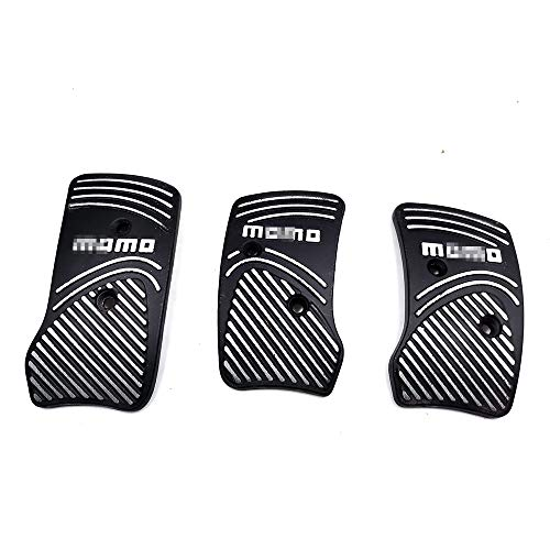 Surla Black Aluminium Non Slip Sport Pedal Brake Pad Covers Manual Car 3 PC (Black)