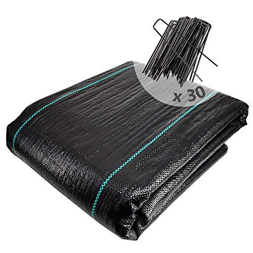 VOUNOT Anti-Unkrautgewebe mit 30 Erdanker, 2mx10m, Unterbodengewebe Bändchengewebe, Bodengewebe Unkrautfolie Wasserdurchlässig und Reißfestes, UV Stabil 100g/m²