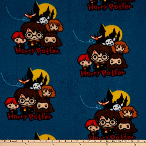 Harry Potter Group Pose Fleece Teal Fabric by the Yard
