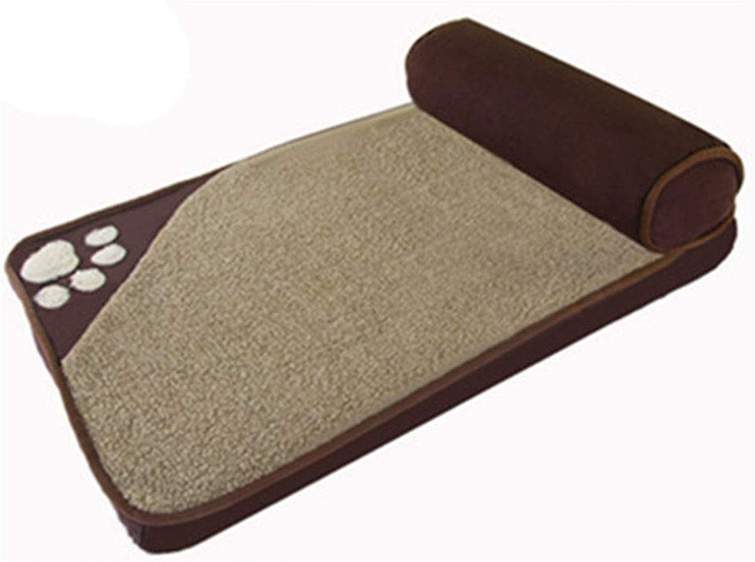 Fine Joy Dog Beds, for Large Dogs House Sofa Kennel Square Pillow Husky Labrador Teddy Cat House Beds Mat,Brown,S