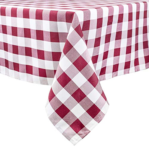 Burgundy and White Checkered Tablecloth,60 x 120 Inch,Yarn-Dyed Rectangle/Oblong Plaid Table Cloth for Indoor Outdoor Picnic Party Banquet,Easy Care Washable Gingham Table Cover