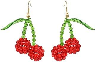 Statement Dangle Fruit Earrings - Fashion Cute Pineapple Orange Watermelon Cherry Beaded Fruit Earrings for Women Jewelry