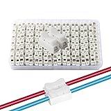 QitinDasen 68Pcs Premium Conectores Cable Resorte Rápido, CH2 Bloque Terminales de Conector Abrazadera Resorte, para Conectar Tiras de Luz LED (Blanco)