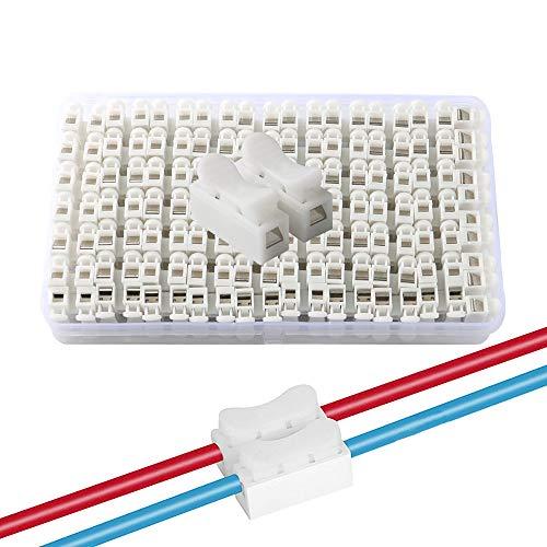 QitinDasen 68Pcs CH2 Connecteur Ressort Rapide, Bornier Connexion Rapide, Connecteur Fils Printemps, Connecteur Ressort Serre-Fils, pour Fil de Lumière de LED Bande