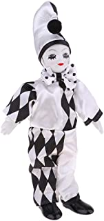 Perfeclan 10inch Adorable Porcelain Standing Clown Man Doll in Black & White Clothes