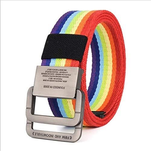 WOFDDH Cinturón de lona, para hombres y mujeres, de moda, pantalones vaqueros, a rayas, de lona, hebilla de metal, informal, cinturón de nailon, unisex, cinturón táctico vintage, colorido, 105 cm