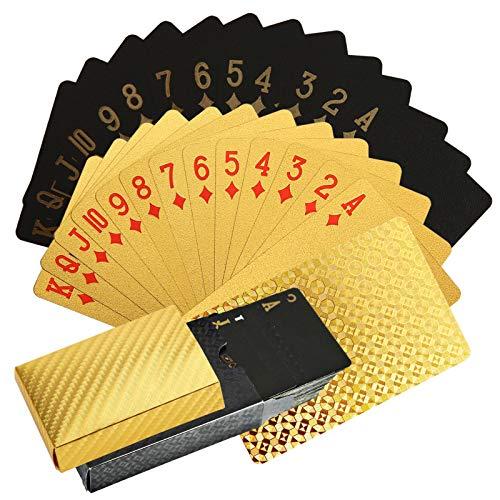 NXACETN Tarjetas de póquer impermeables, 2 barajas negras y doradas, resistentes al agua, plástico PET, juego de póquer, herramientas para juegos de cartas familiares, 1 unidad negra y 1 unidad dorada