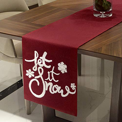 Hahadidi Christmas Table Runner, Xmas Table Runner Red 14 x 72 Inch(35x182cm) RectangleTable Flag with Lettered Embroidery for Dinner Table Holiday Party Home Decorations