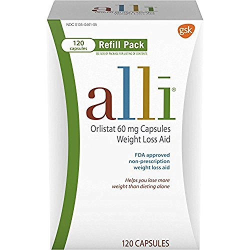 alli Weight Loss Diet Pills, Orlistat 60 mg Capsules, 120 Count Refill Pack