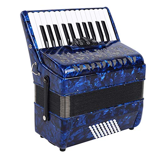 Acordeón, 26 teclas, 48 bajos, acordeón musical, instrumental con correa de fuelle de piel de oveja + bolsa(Azul: AR-40 26 teclas 48 bajos)