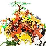 GuassLee Ensemble de Jouets avec 65 Figurines et Figurines animales - Mini-Jouets éducatifs en Plastique pour Animaux de la Jungle pour garçons Filles Enfants Tout-Petits Ferme Petits Animaux.