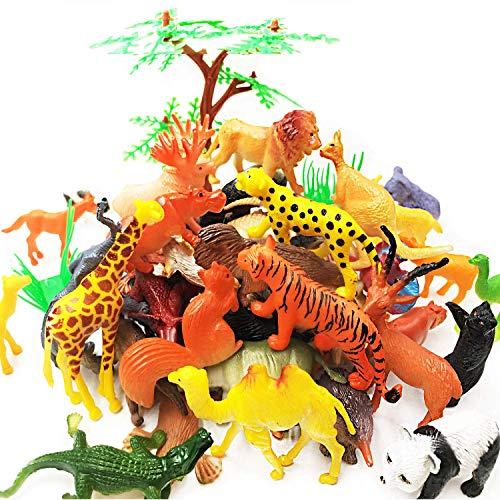 65 Stück Tierfiguren Spielzeug Set - Kunststoff Mini Pädagogisches Dschungeltier Spielzeug für Jungen Mädchen Bauernhof Kleintiere. Enthält 44 Mini-Tierfiguren, 16 Zäune, 4 Gras- und 1 Baumfiguren.