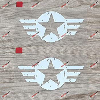 2X White 4   Air Force Star WW2 Decal Sticker Car Vinyl for Jeep Distressed a