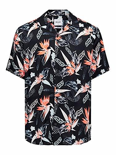 Only & Sons Onsklopp Life SS AOP Viscose Shirt Noos Camisa, Negro, M para Hombre