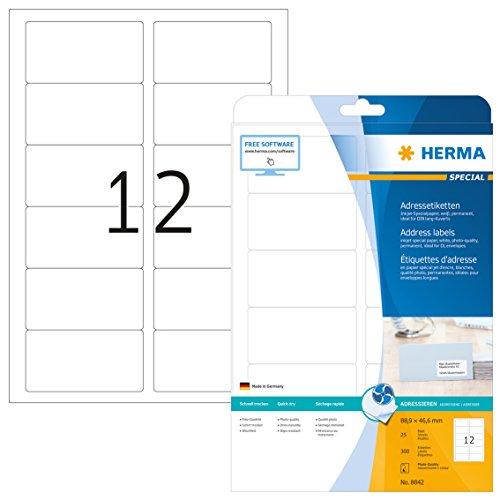 HERMA 8842 Adressaufkleber für Tintenstrahldrucker DIN A4 (88,9 x 46,6 mm, 25 Blatt, Papier, matt) selbstklebend, bedruckbar, permanent haftende Inkjet Adress-Etiketten, 300 Klebeetiketten, weiß