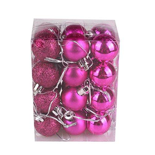 Luccase Kunststoff Christbaumkugeln 30mm Weihnachten Xmas Baum Ball Christbaumkugel Hängen Zuhause Party Ornament Dekor, 24 Teile / Paket (Pink)