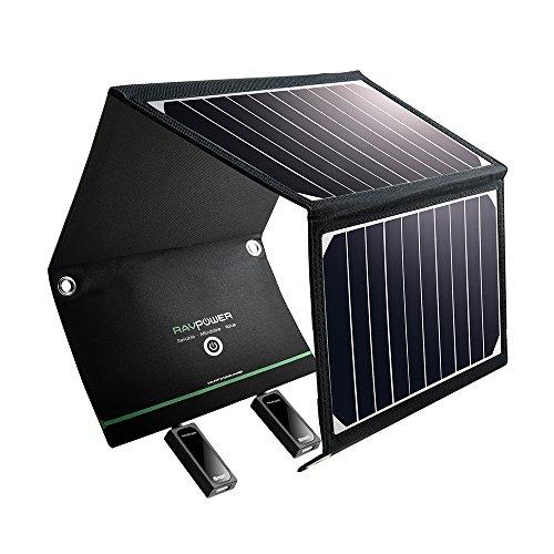 RAVPower Solar Ladegerät 16W 2 Port USB Solarladegerät Outdoor, Tragbares Leicht USB Solarpanel Handy Ladegerät, Faltbar, Wasserdicht, Kompatibel mit Allen Handys, iPad, Kamera usw.
