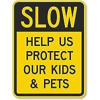 安全標識-標識が遅い-私たちの子供とペットを保護するのを手伝ってください。インチの金属錫標識UV保護および耐候性、通知警告標識