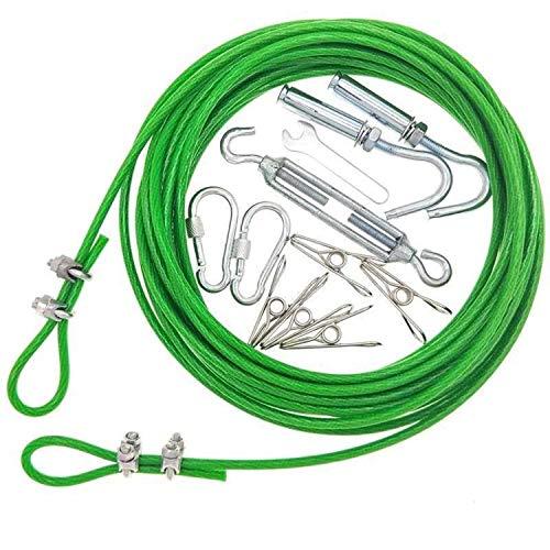 ZNKZJ Cuerda para Tender Ropa de PVC,Línea de Lavado de núcleo de Acero,Cuerda de Alambre de balcón Antideslizante Antideslizante a Prueba de Viento para tendedero al Aire Libre,Green-5