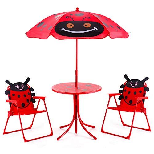 COSTWAY Sitzgruppe Sitzgarnitur für Kinder Gartengarnitur Kindermöbel Kindertisch inkl. Sonnenschirm + 2 Kinderstühle klappbar Rot