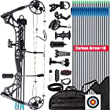 XGeek Compound Bow Kit, Hunting and Target,with All Accessories,Limb Made in USA,10 Gears Adjustment Range,Draw Weight 30-70 lbs, Draw Length 19-31